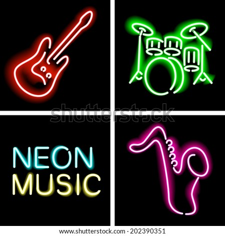 neon light instrument musical billboard in vector format