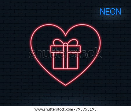 Neon light. Love Gift box line icon. Present or Sale sign. Birthday Shopping symbol. Package in Gift Wrap. Glowing graphic design. Brick wall. Vector