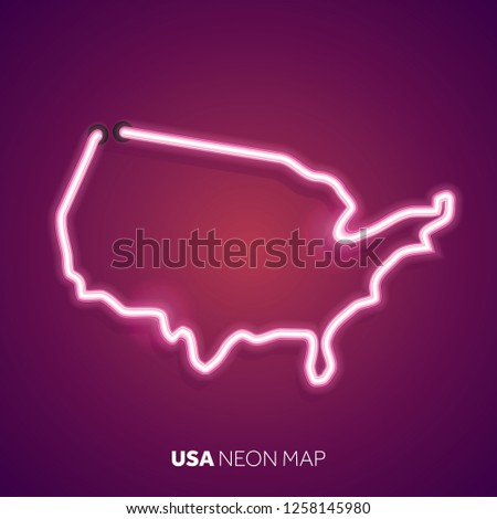 Neon light map of United States #1258145980