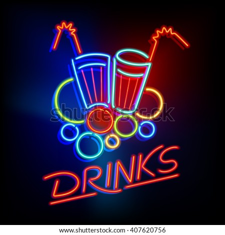 "Neon Light Sign with a Title ""Drinks"" and Glasses with Straws in Retro Style"