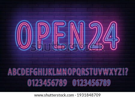 Neon Lighted Typeset, alphabet full abc font set with neon blue and red style letter. Open 24 sign