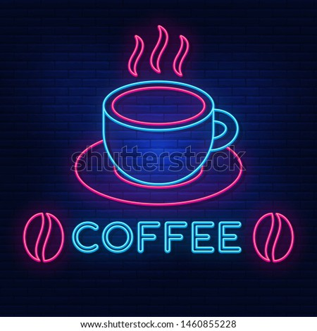 Neon lights cafe. Bright advertising of coffee, beans,beans. Good morning. logo, vector, banner, poster, image of natural coffee. Night neon sign. Light the sign. Vector illustration.