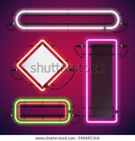 Neon Lights Rectangle Frames Set for Your Custom Banner. Used pattern brushes included. There are fastening elements in a symbol palette.