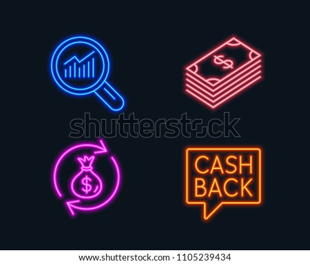 Neon lights. Set of Dollar, Money exchange and Data analysis icons. Money transfer sign. Usd currency, Cash in bag, Magnifying glass. Cashback message.  Glowing graphic designs. Vector