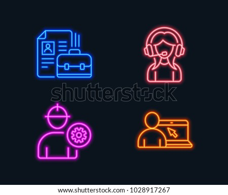 Neon lights. Set of Engineer, Vacancy and Support icons. Online education sign. Worker with cogwheel, Hiring job, Call center. Internet lectures.  Glowing graphic designs. Vector