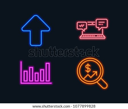 Neon lights. Set of Internet chat, Column chart and Upload icons. Currency audit sign. Online communication, Financial graph, Load arrowhead. Money chart.  Glowing graphic designs. Vector