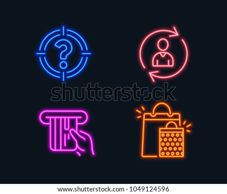 Neon lights. Set of Person info, Headhunter and Credit card icons. Shopping bags sign. Refresh user data, Aim with question mark, Atm payment. Sale marketing.  Glowing graphic designs. Vector