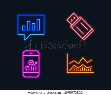Neon lights. Set of Usb flash, Analytical chat and Smartphone statistics icons. Trade infochart sign. Memory stick, Communication speech bubble, Mobile business. Business analysis. Vector