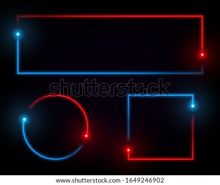 Neon line banner. Fluorescent light box. Simple geometric shapes set isolated on black background. Absract red and blue glowing spectrum effect. Concept for cover, poster, banner, presentation. stock photo