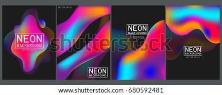 Neon liquid color splash cover vector set. Futuristic fluid paint template. Abstract neon background on black.