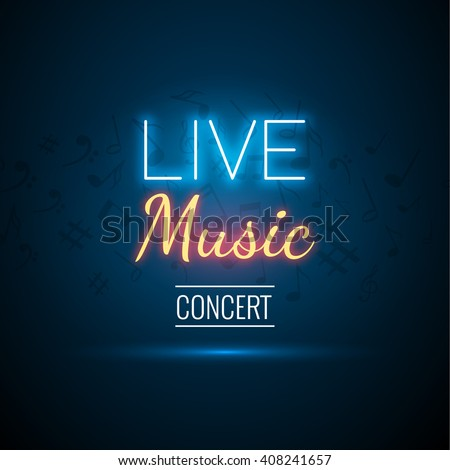 Neon Live Music Concert Acoustic Party Poster Background Template with text sign spotlight and stage.