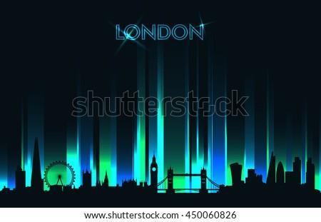 neon london skyline detailed