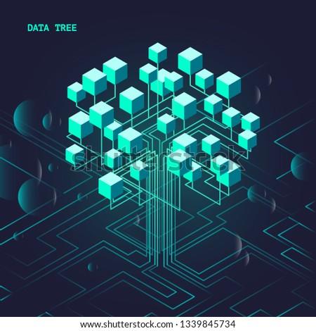 Neon luminous isometric data tree demonstrates the high technology of the future