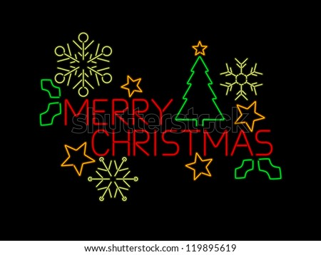 Neon Merry Christmas sign with stars, tree, holly and snowflakes