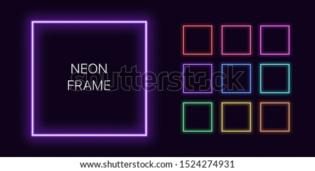 Neon monochrome square Border with copy space. Templates set of Neon gradient quadrate Frame. Expressive and futuristic graphic element, geometric shape for bright design. Fully Vector