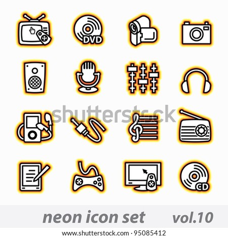 neon multimedia computer icon set