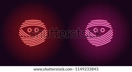 neon mummy face in red and pink