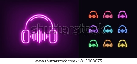 Neon music wave icon. Glowing neon headphones with sound wave, soundtrack in vivid colors. DJ play, listen to music, radio podcast, sound record studio. Icon set, sign, symbol. Vector illustration Stock photo ©