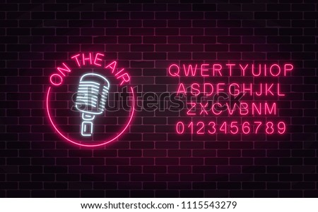 Neon on the air sign with retro microphone in round frame with alphabet. Nightclub with live music icon. Glowing signboard of radio station. Sound cafe icon. Music show poster. Vector illustration.