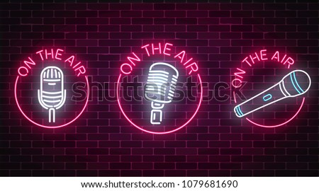 Neon on the air signs set with microphones symbols in round frames. Nightclub with live music icon. Glowing signboard of radio station. Sound cafe icon. Music show poster. Vector illustration.