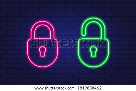 Neon padlock. Lock unlock. Concept lock neon style on dark background. Vector illustration