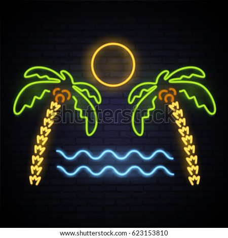 neon pattern summer palm trees