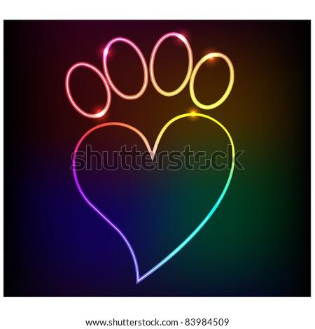 Neon paw print love.Vector - stock vector