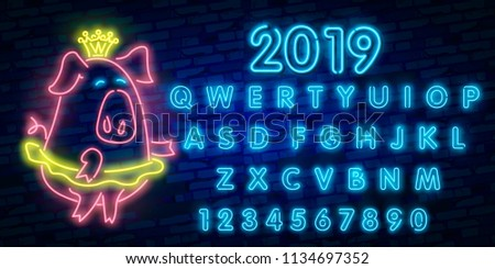 Neon pig. Symbol of 2019 year. Retro Design Elements for Presentations, Flyers, Leaflets, Posters or Postcards. Vector Illustration. Vector illustration