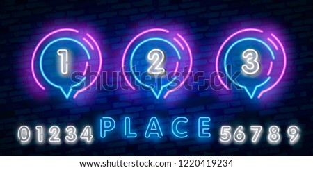 neon place 1 2 3 in purple and