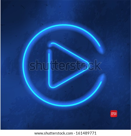 neon play glossy button