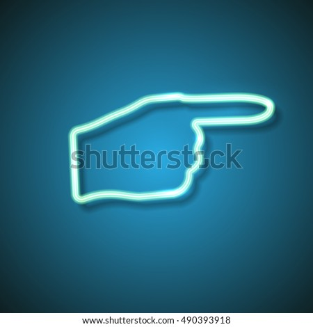 neon pointing finger sign on