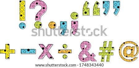 Neon Punctuation with Circle Pattern Inside Letters Foto stock ©