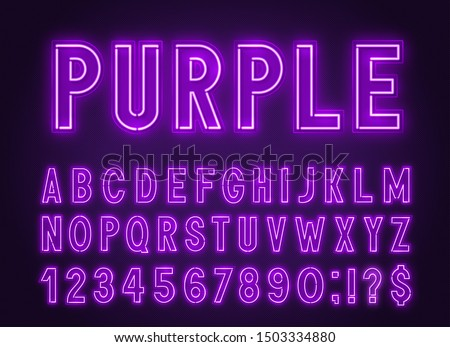 Neon purple font, light alphabet with numbers on a dark background.