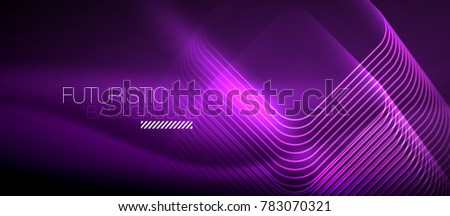 Neon purple glowing techno lines, hi-tech futuristic abstract background template with square shapes