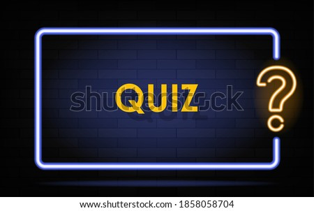 Neon quiz banner. Glowing question mark. Color neon banner on brick wall. Realistic bright night signboard. Shining neon effect. Vector illustration.