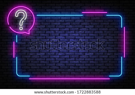 Neon quiz sign vector design template. Quiz neon frame, light banner design element colorful modern design trend, night bright advertising, bright sign. Vector illustration.