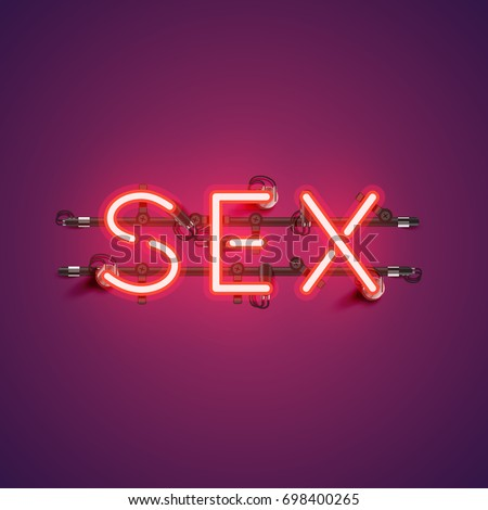 Neon realistic word 'SEX' for advertising, vector illustration