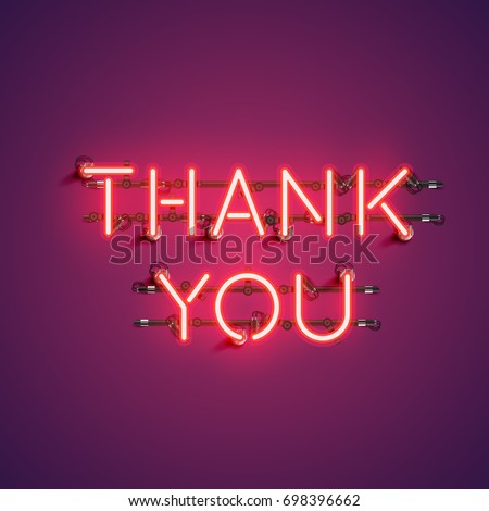 Neon realistic words 'THANK YOU' for advertising, vector illustration