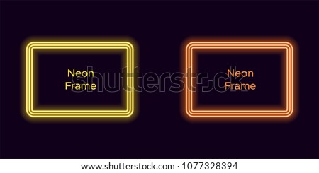 Neon rectangle frame in yellow and orange color. Vector template of neon frame consisting of three outlines, with soft backlight on the dark background