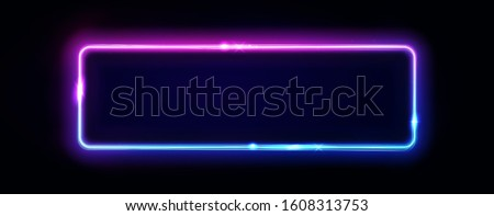 Neon rectangle frame or neon lights horizontal sign. Vector abstract background, tunnel, portal. Geometric glow outline shape or laser glowing lines. Abstract background with space for your text.