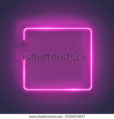 Neon rectangle lamp wall sign isolated on transparent background. Vector pink power glowing bulb banner, light line or neon frame for your design.