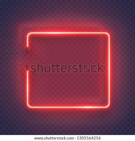 Neon rectangle lamp wall sign isolated on transparent background. Vector red power glowing bulb banner, light line or neon frame for your design.