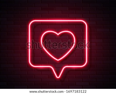Neon Red Glowing Heart in Spech Bubble Banner on Dark Empty Grunge Brick Background. Vector Vintage Red Heart Like Sign. Retro Neon Valentines Day Symbol