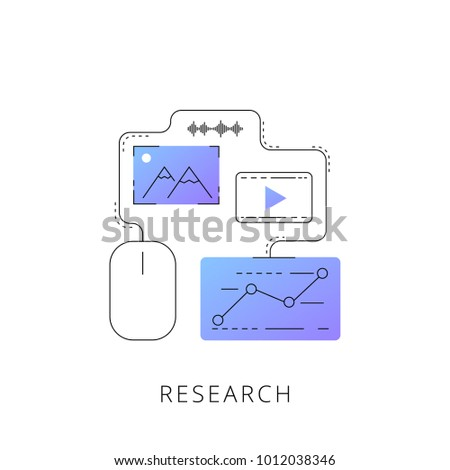 neon research vector line icon