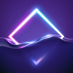 Neon rhombus frame in water with light effect