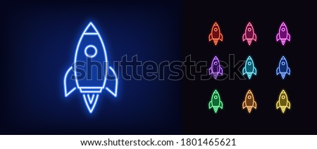 Neon rocket icon. Glowing neon spacecraft sign, spaceship flight in vivid colors. Space exploration, startup launch, product promotion, innovation. Icon set, sign, symbol for UI. Vector illustration