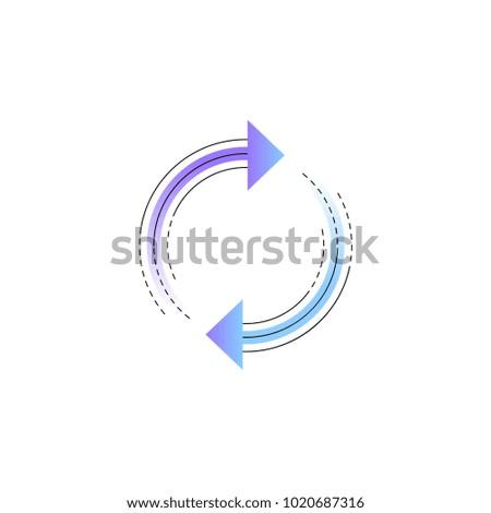 Neon rotation arrow vector line icon isolated on white background. Rotation arrow line icon for infographic, website or app.
