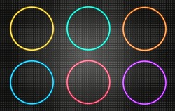 Neon round frame. Shining circle banner. Vector illustration. Eps10. Round neon frames set