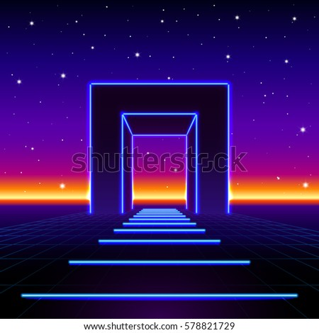 neon 80s styled massive gate in ...