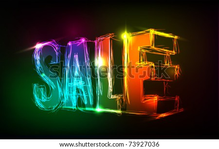 neon sale sign - stock vector